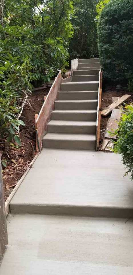Narrow concrete stairs and walkway