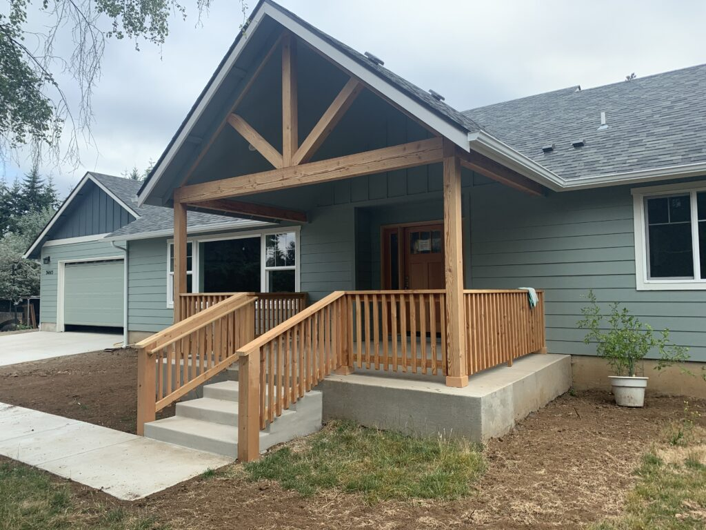 Custom built home from a side view of the porch
